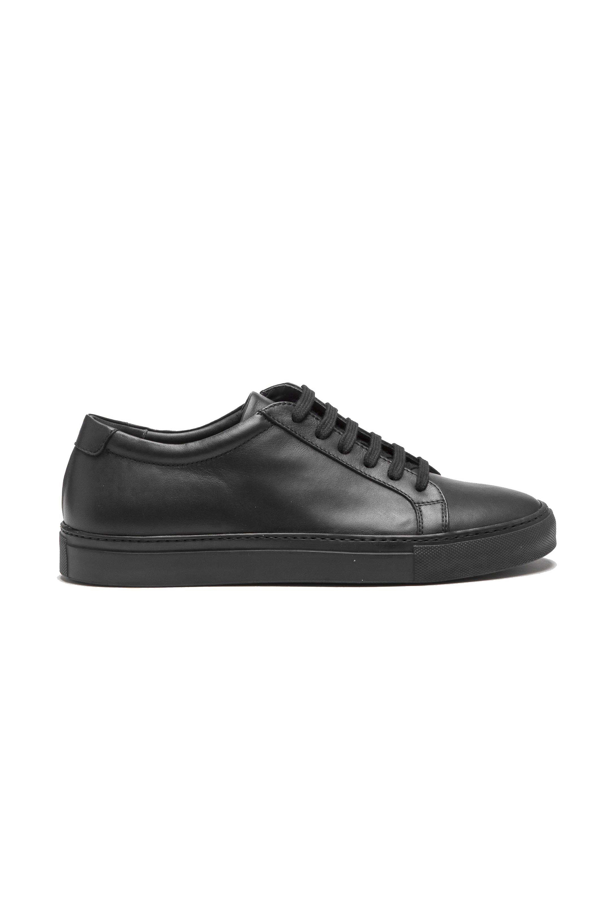 SBU 01527 Classic lace up sneakers in black calfskin leather 01
