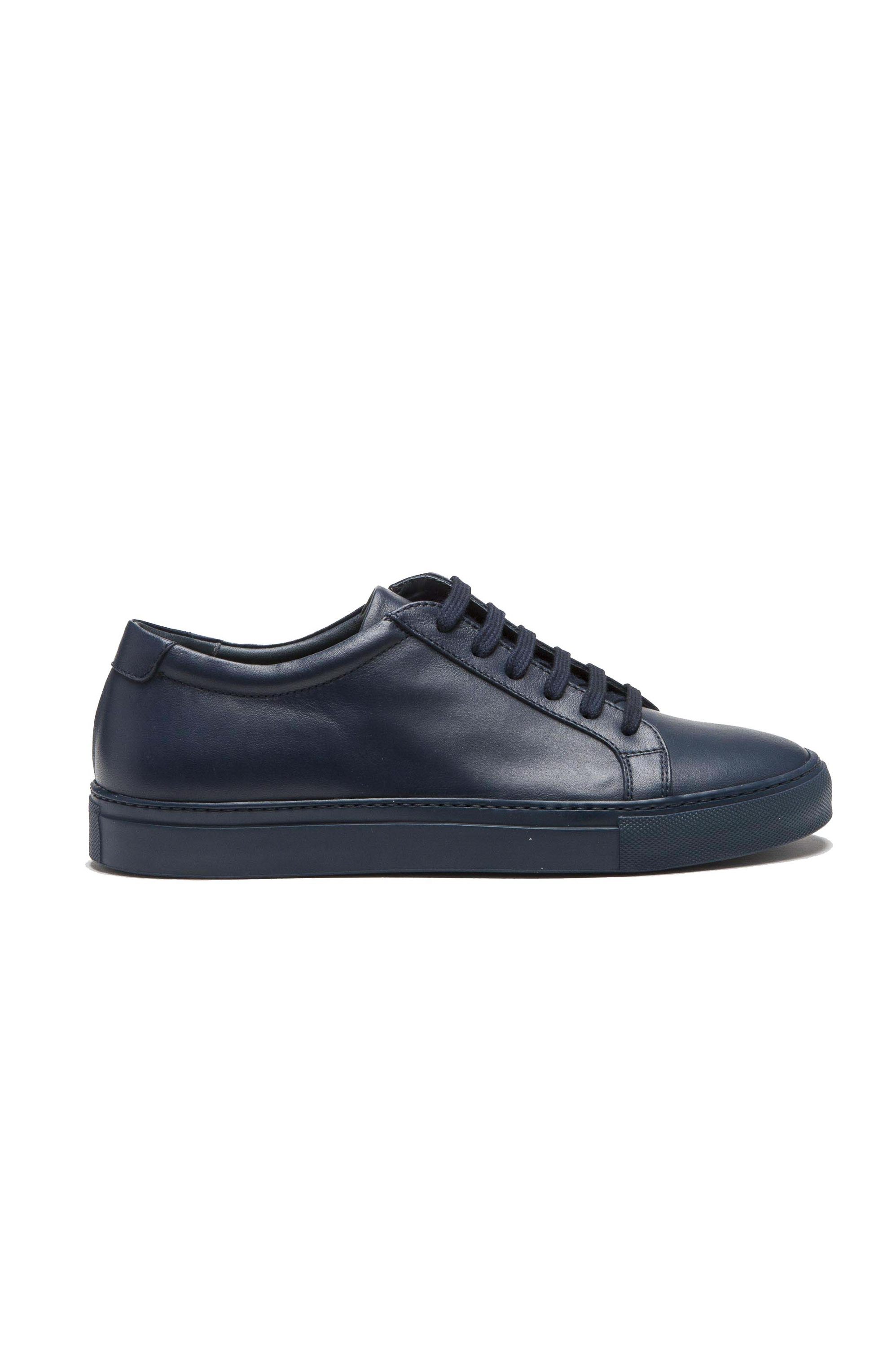 SBU 01525 Classic lace up sneakers in blue calfskin leather 01