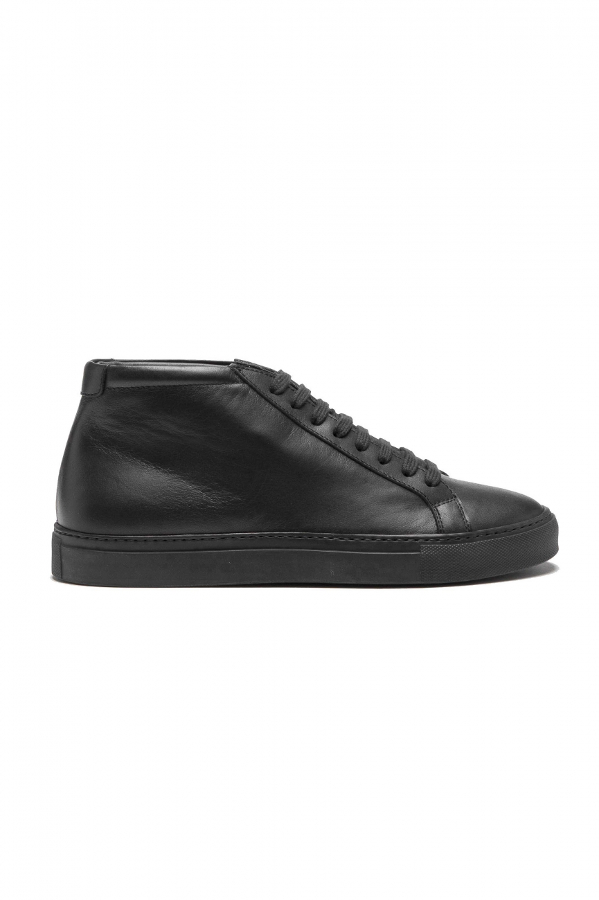 SBU 01524 Mid top lace up sneakers in black calfskin leather 01
