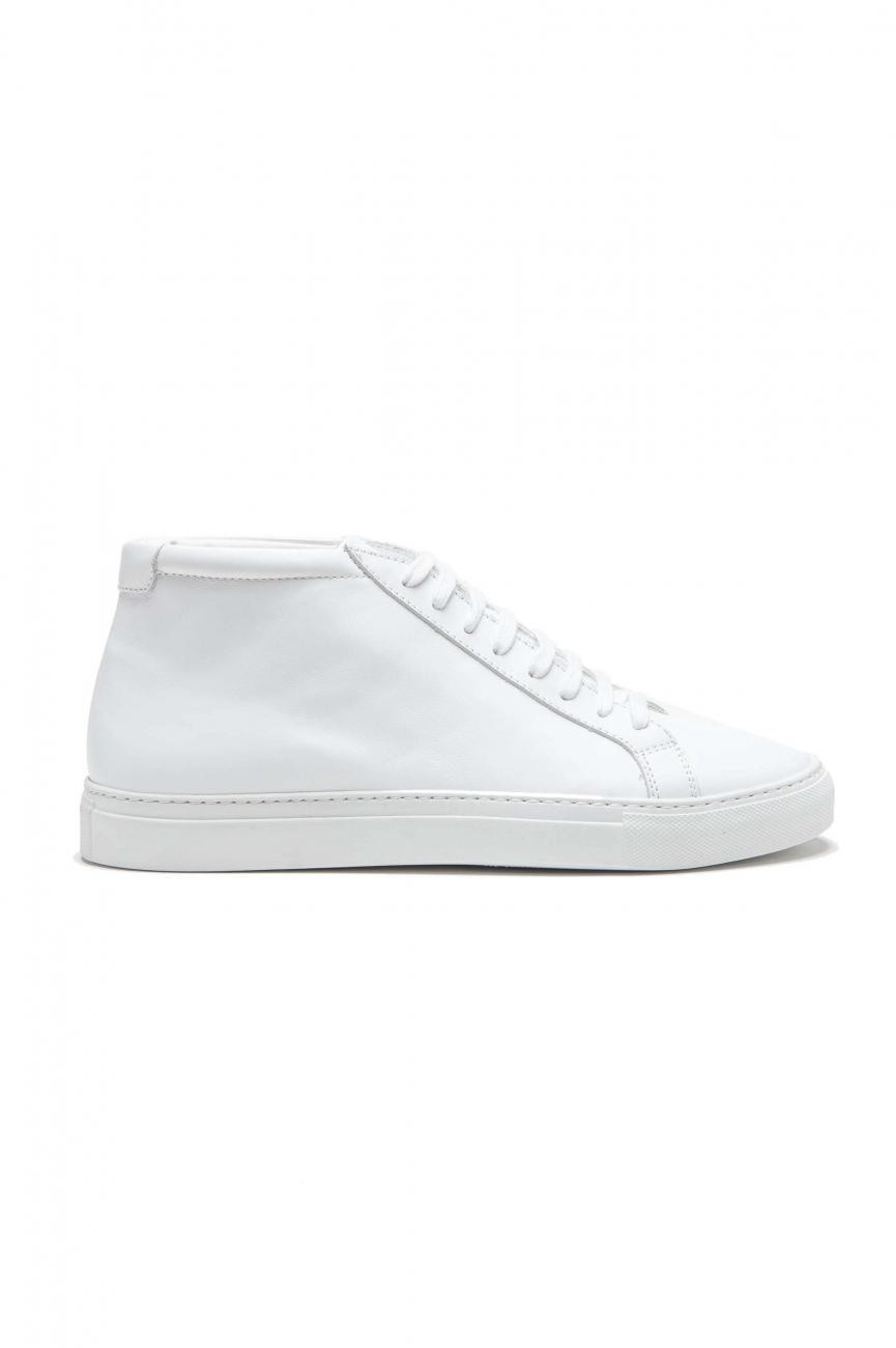 SBU 01523 Zapatillas altas con cordones en la parte media de piel de becerro blanca 01