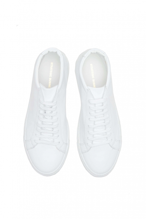 SBU 01523 Mid top lace up sneakers in white calfskin leather 01