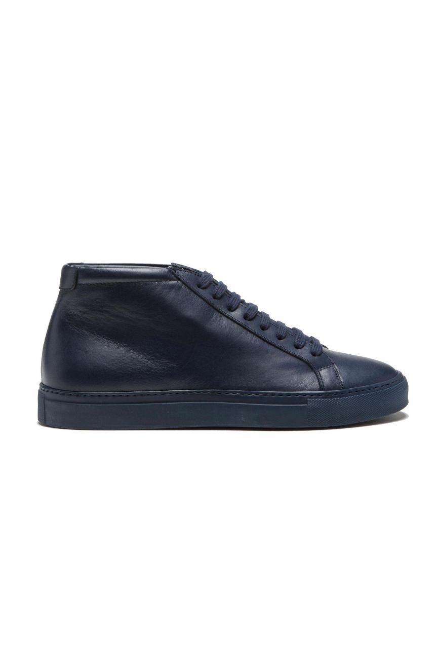 SBU 01522 Sneakers stringate alte di pelle blu 01