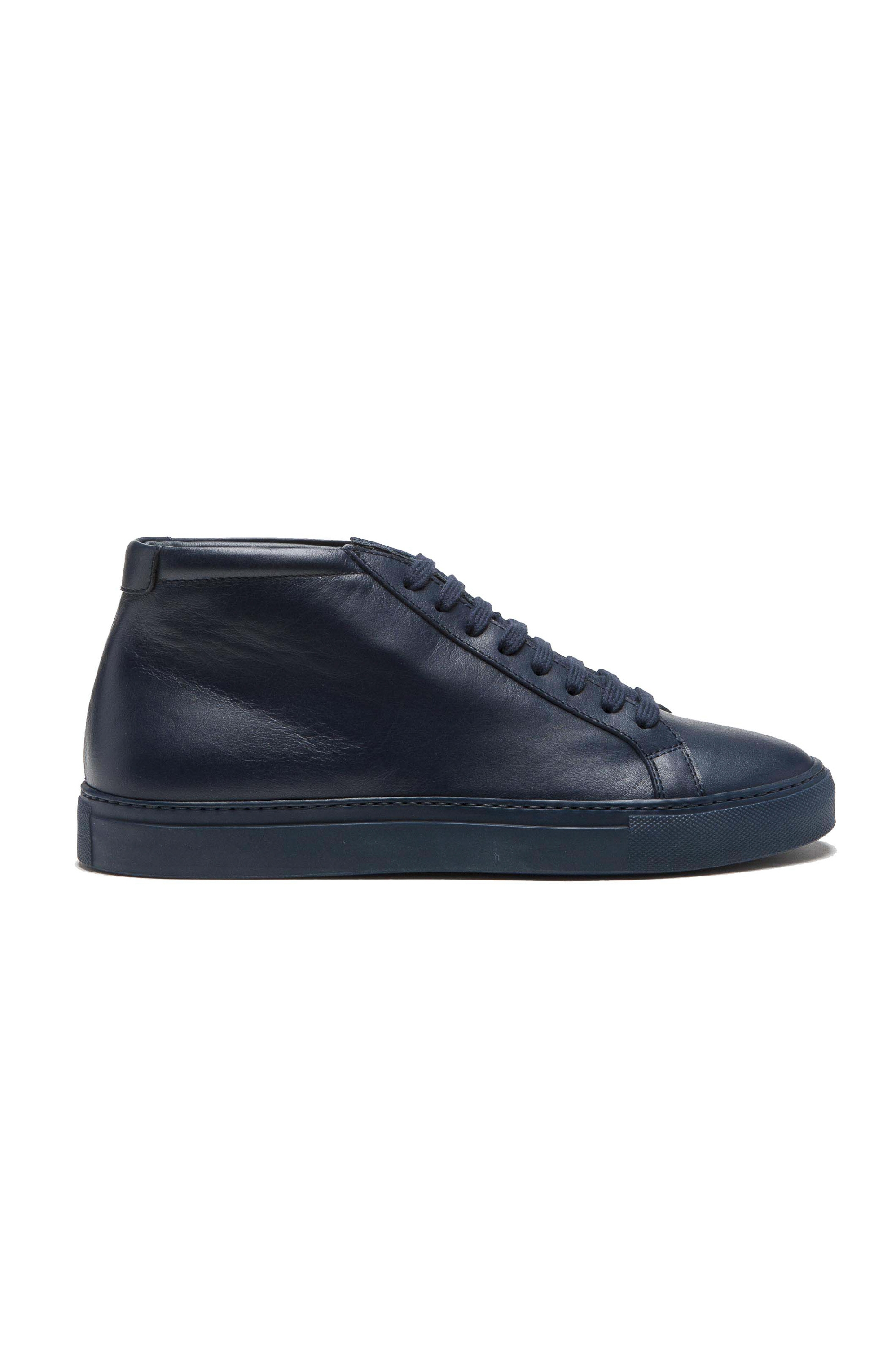 SBU 01522 Mid top lace up sneakers in blue calfskin leather 01