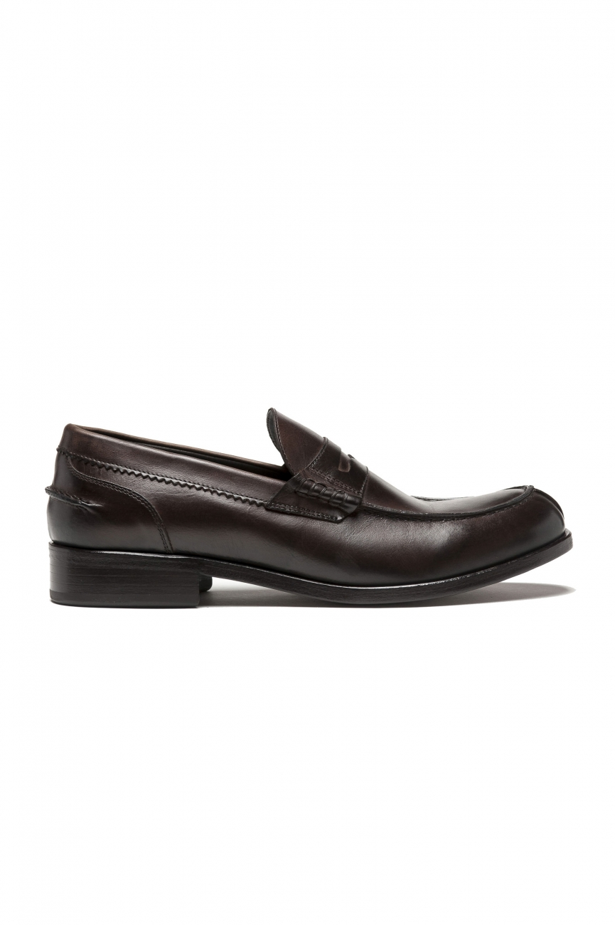 SBU 01505 Brown plain calfskin penny loafers with leather sole 01