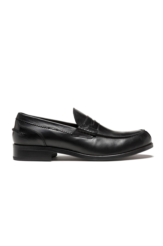 SBU 01504 Mocassino in pelle nero con suola in cuoio genuino 01