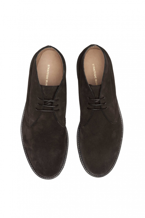 SBU 01501 Brown lace-up plain suede chukka boots with Vibram rubber sole 01