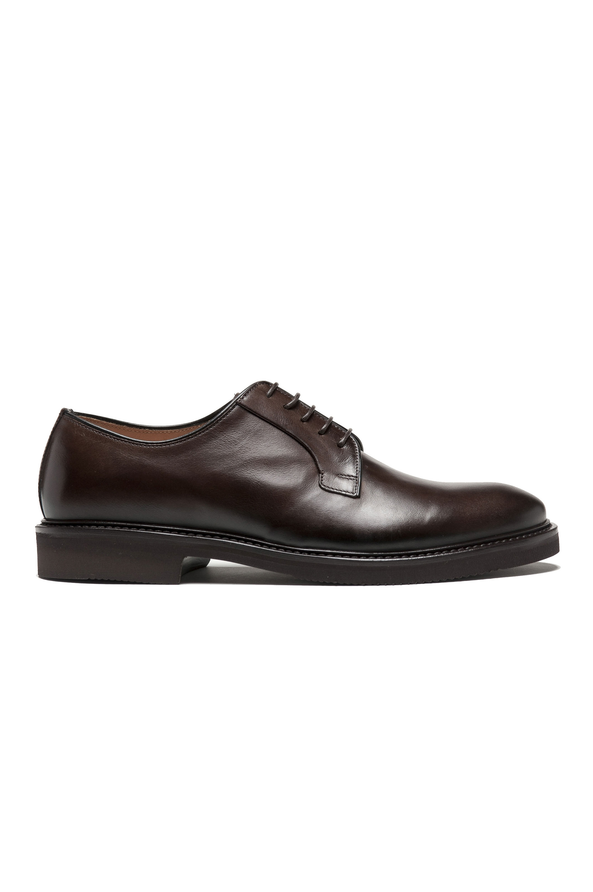SBU 01500 Brown lace-up plain calfskin derbies with Vibram rubber sole 01