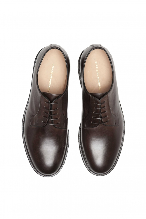 SBU 01500 Brown lace-up plain calfskin derbies with Vibram rubber sole 01