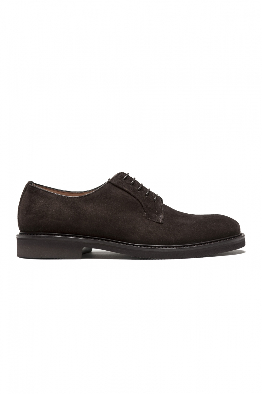 SBU 01498 Brown lace-up plain suede derbies with Vibram rubber sole 01