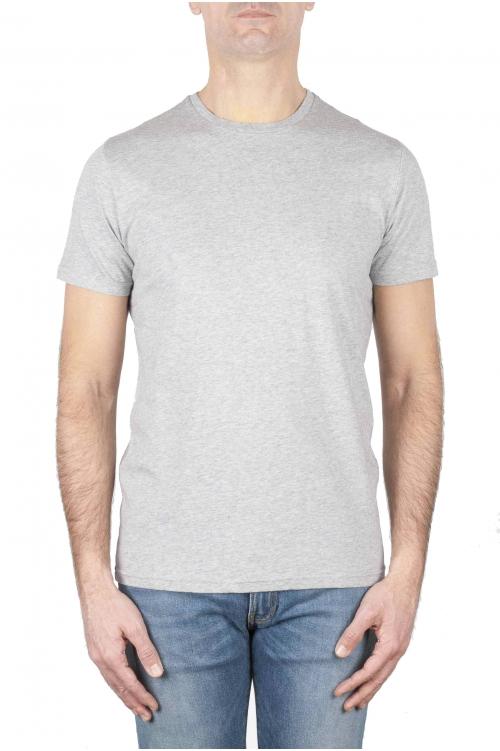 SBU 01747 Shirt classique gris melange col rond manches courtes en coton 01