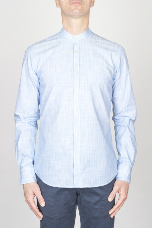 Classic Mandarin Collar White And Light Blue Super Cotton Shirt