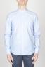 SBU - Strategic Business Unit - Camicia Classica In Super Cotone Collo Coreano Bianca E Celeste