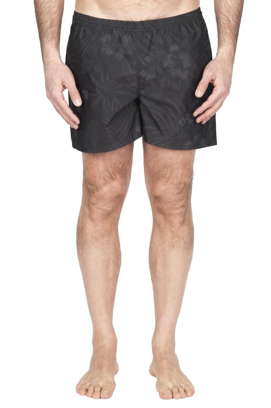 SBU 01762 Costume pantaloncino classico in nylon ultra leggero stampa floreale nero 01