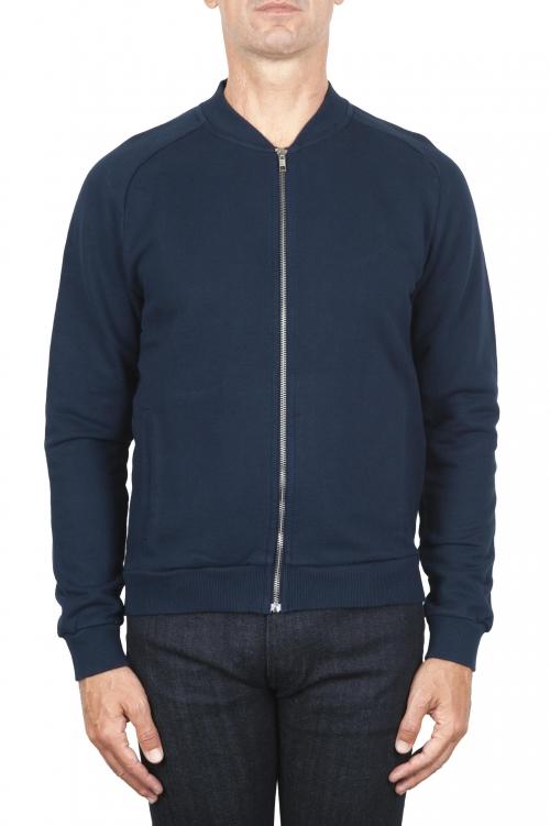 SBU 01763 Sudadera bomber jersey de algodón azul 01