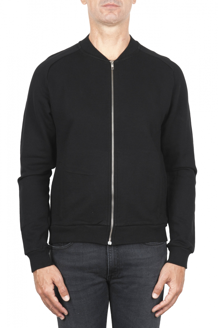 SBU 01764 Black cotton jersey bomber sweatshirt 01