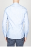 Classic Mandarin Collar White And Light Blue Super Cotton Shirt