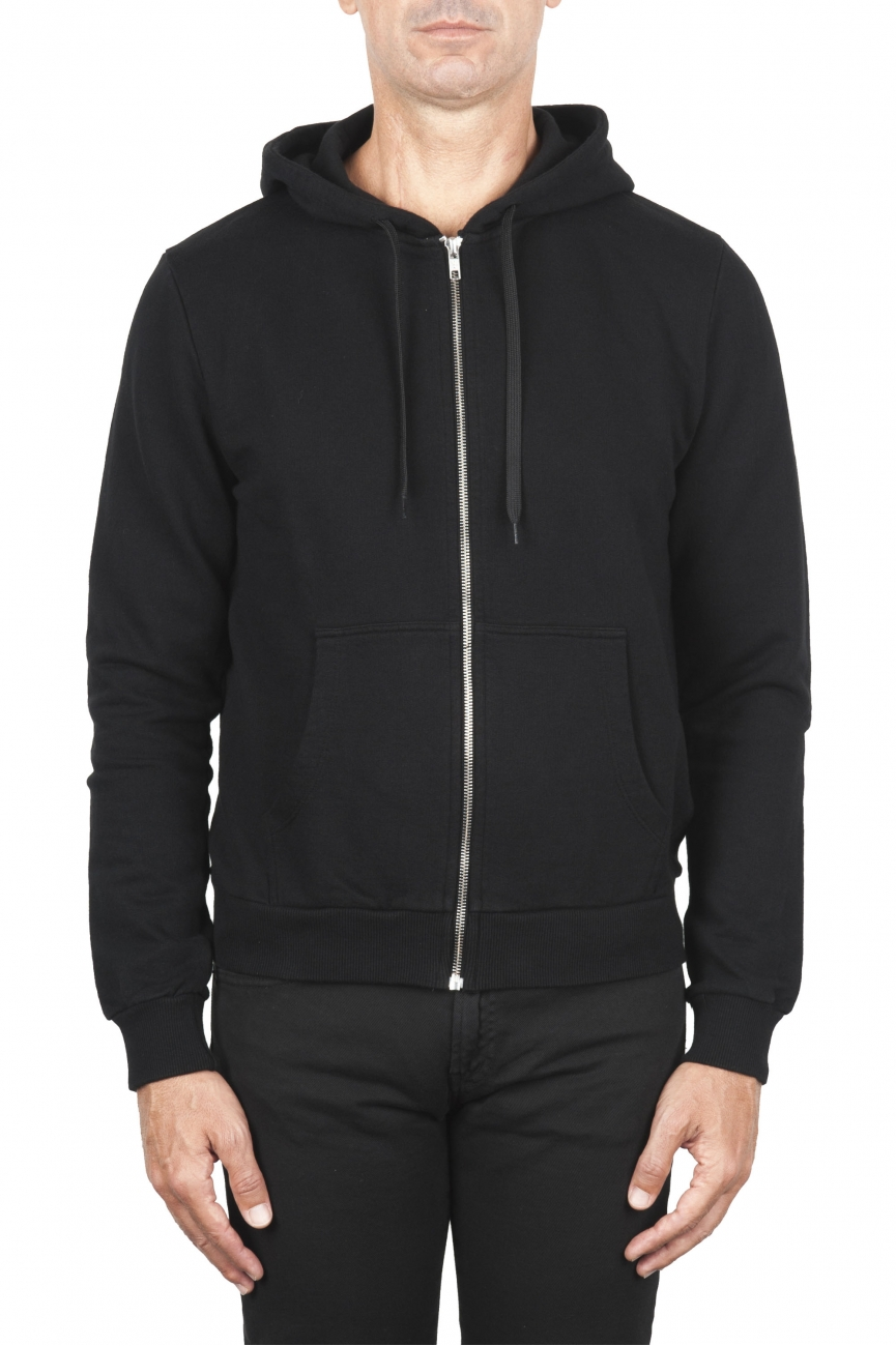 SBU 01766 Black cotton jersey hooded sweatshirt 01