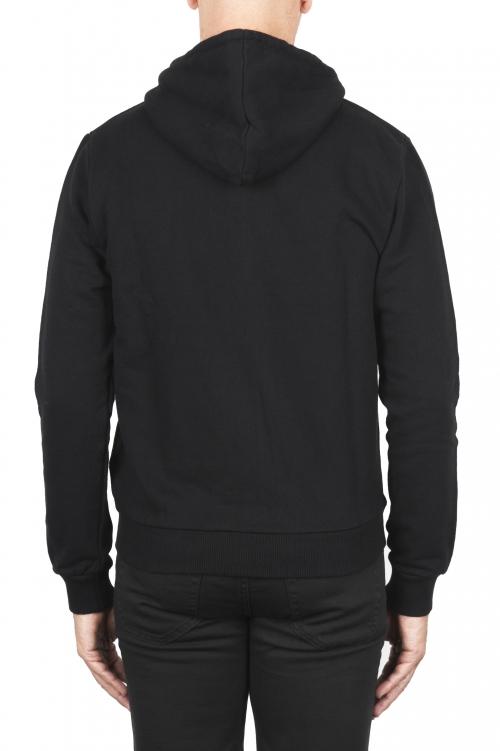 SBU 01766 Black cotton jersey hooded sweatshirt 01