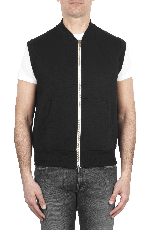 SBU 01768 Black cotton jersey sweatshirt vest 01