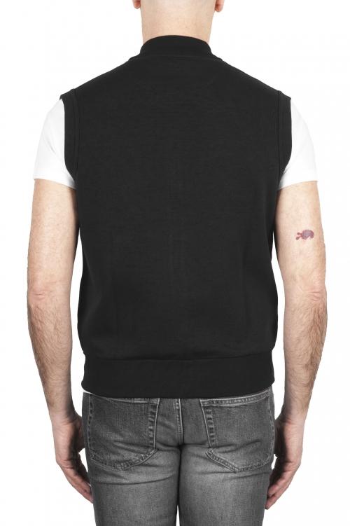 SBU 01768 Felpa gilet in jersey di cotone nero 01