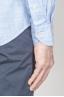 SBU - Strategic Business Unit - 古典的なマンダリンの襟白とライトブルーのスーパーコットンシャツ