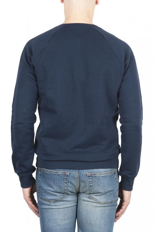 SBU 01770 Sudadera de algodón azul cuello redondo 01
