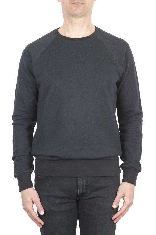 SBU 01771 Sudadera de algodón gris cuello redondo 01