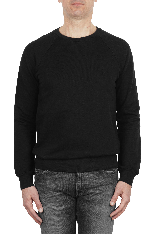 SBU 01772 Felpa girocollo in jersey di cotone nera 01