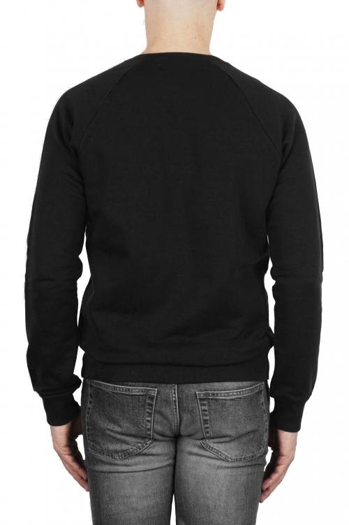 SBU 01772 Sweat en coton noir à col ras du cou 01
