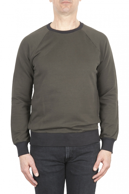 SBU 01773 Crewneck green cotton sweatshirt 01