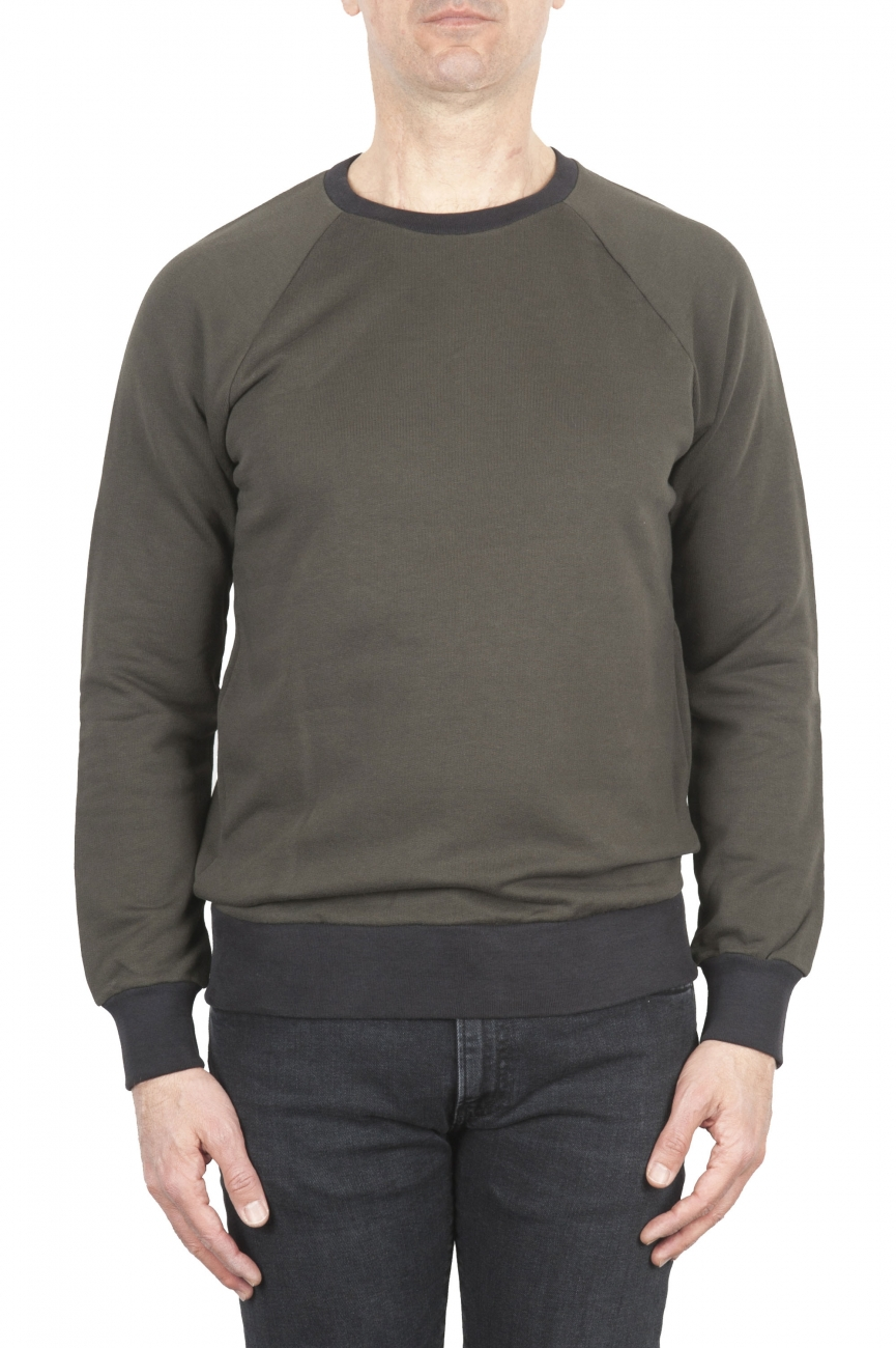 SBU 01773 Felpa girocollo in jersey di cotone verde 01