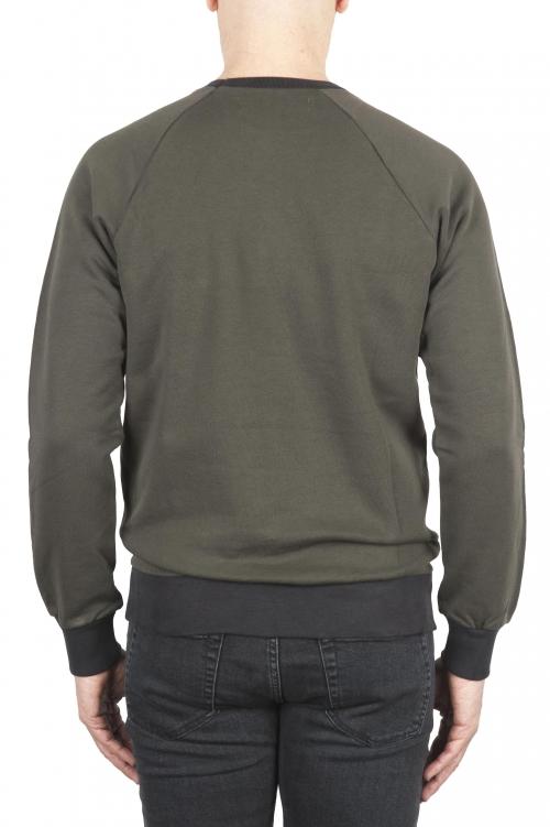 SBU 01773 Sudadera de algodón verde cuello redondo 01