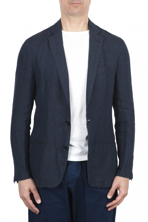 SBU 01775 Single breasted unconstructed blue linen blazer 01