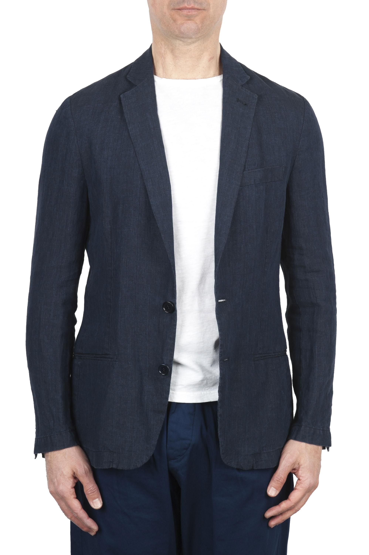 SBU 01775 Single breasted unconstructed blue linen blazer 01