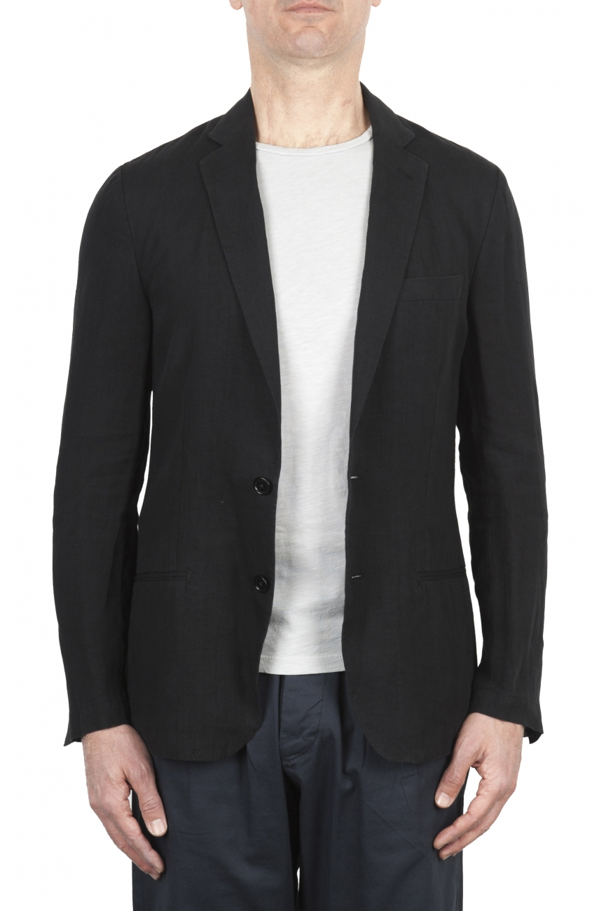 SBU 01777 Single breasted unconstructed black linen blazer 01