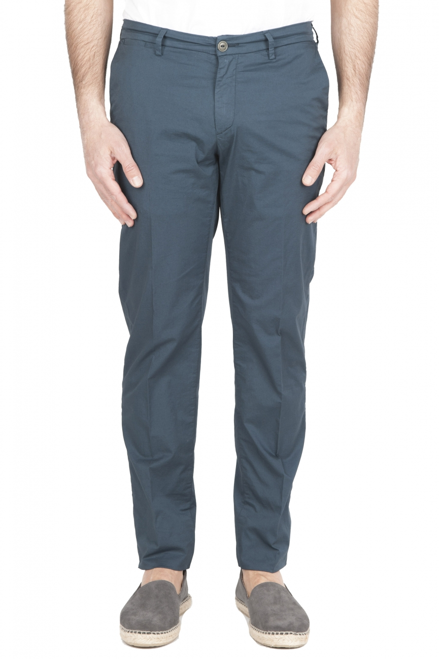 SBU 01780 Ultra-light chino pants in blue stretch cotton 01