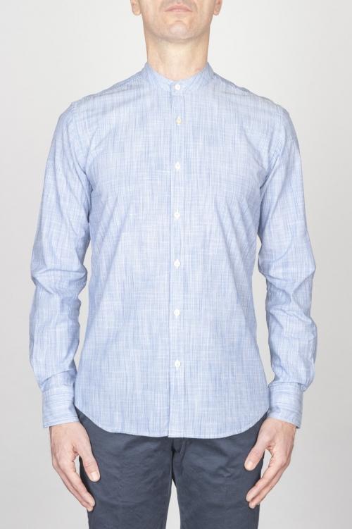 SBU - Strategic Business Unit - Classic Mandarin Collar White And Blue Super Cotton Shirt