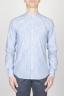 SBU - Strategic Business Unit - クラシックマンダリン襟白と青のスーパーコットンシャツ