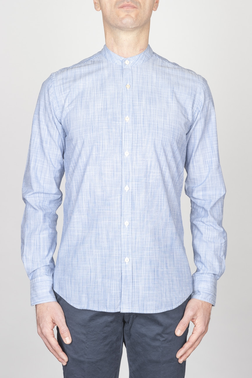 Classic Mandarin Collar White And Blue Super Cotton Shirt