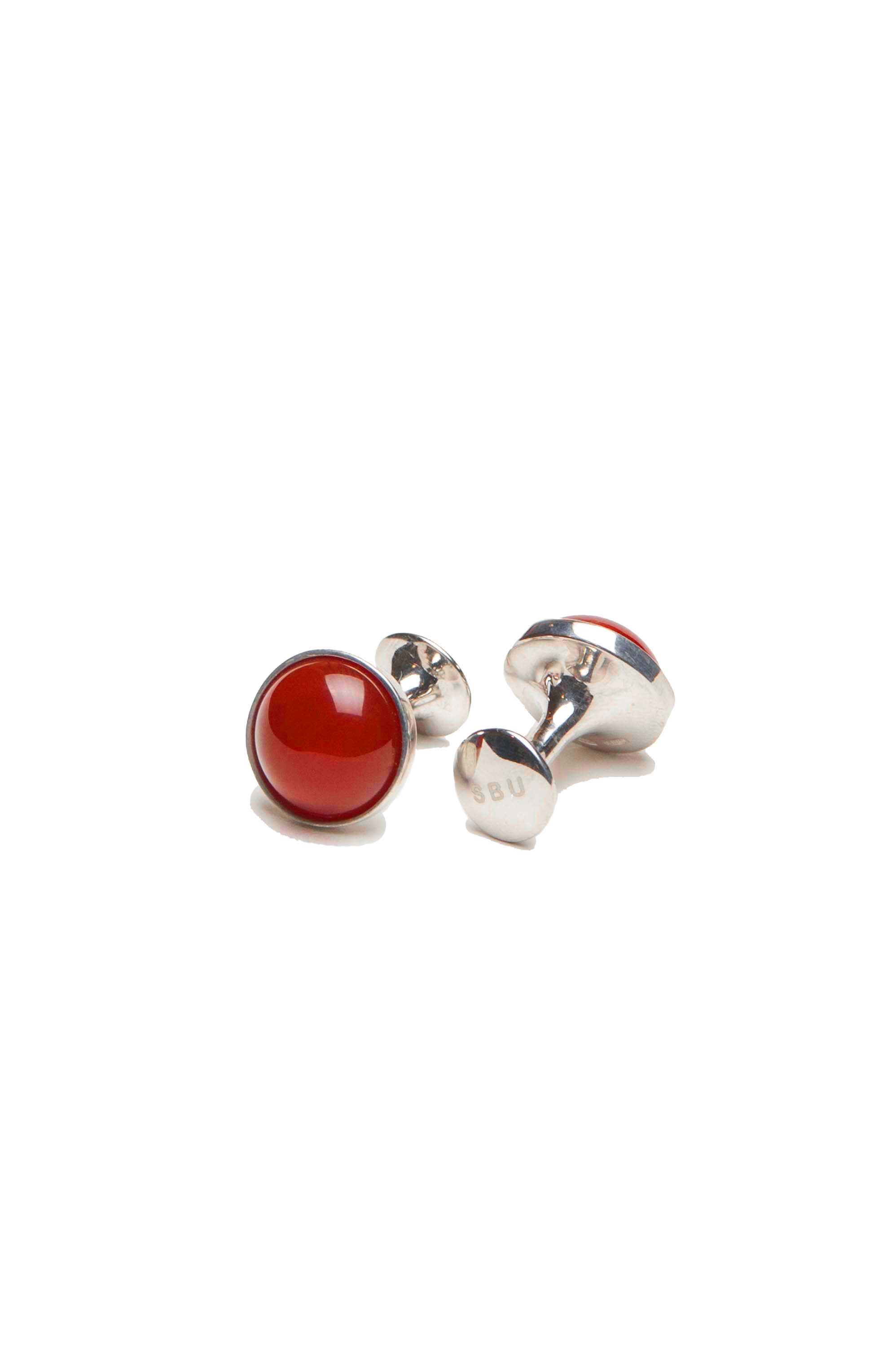 SBU 01017 Classic silver and coral handmade cufflinks 01
