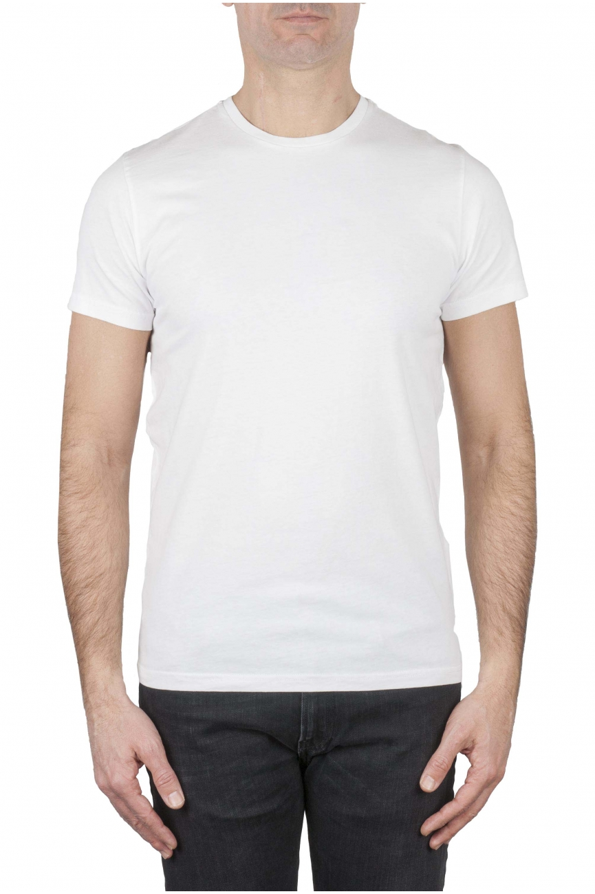 SBU 01749 T-shirt girocollo classica a maniche corte in cotone bianca 01
