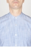 Classic Mandarin Collar White And Blue Super Cotton Shirt