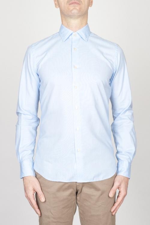SBU - Strategic Business Unit - クラシックなポイントカラーライトブルーオックスフォードスーパーコットンシャツ