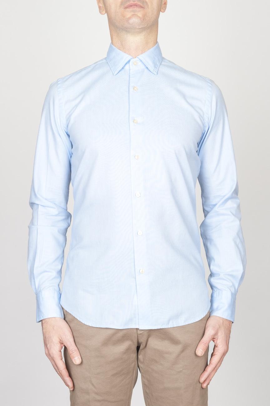 Classic Point Collar Light Blue Oxford Super Cotton Shirt