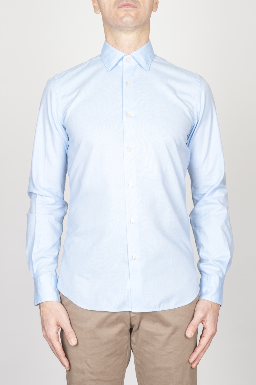 Classic Point Collar Light Blue Oxford Super Cotton Shirt