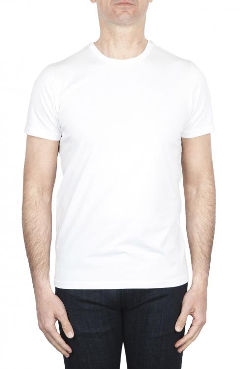 SBU 01792 T-shirt girocollo bianca stampata a mano 01