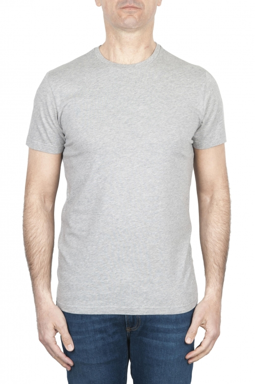 SBU 01793 Round neck mélange grey t-shirt printed by hand 01
