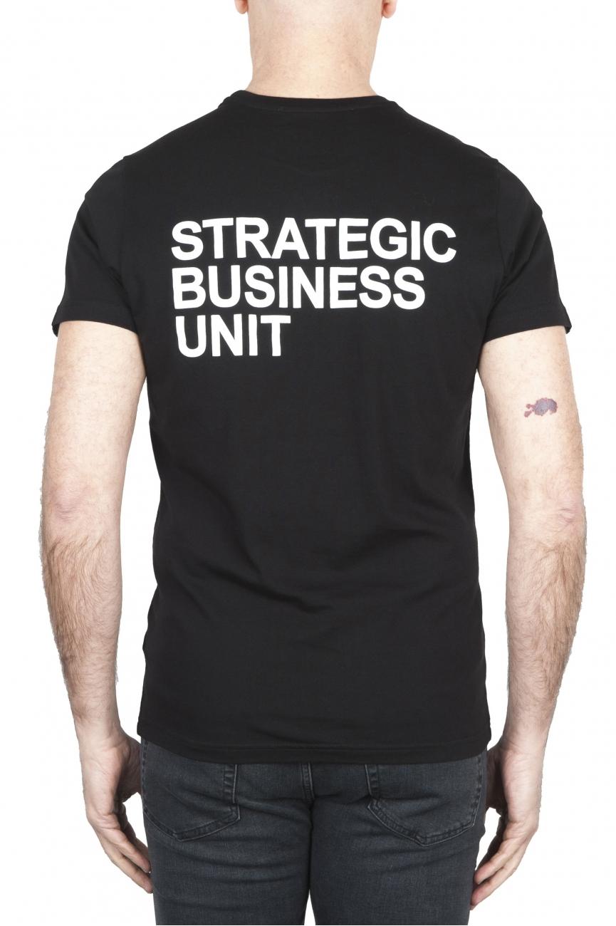 SBU 01794 T-shirt noir à col rond imprimé à la main 01