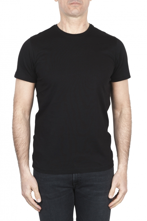 SBU 01794 手でプリントされたラウンドネックブラックTシャツ 01