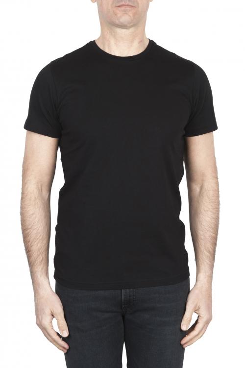 SBU 01794 T-shirt girocollo nera stampata a mano 01